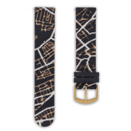 Fabric leather strap - night glow-gold