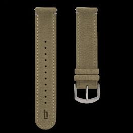 Leather strap - khaki-silver