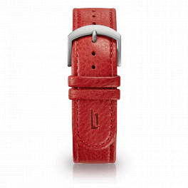 Leather strap - red-silver