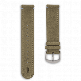 Leather strap - khaki-silver