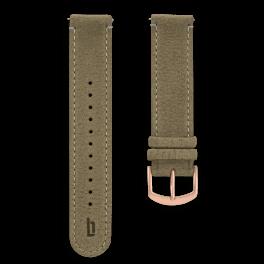 Leather strap - khaki-rosegold