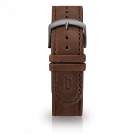 Leather strap - brown-dark-silver