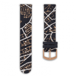 Fabric leather strap - night glow-rosegold