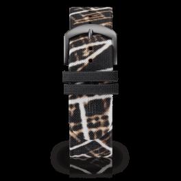 Fabric leather strap - night-glow-dark-silver-short